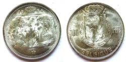 """World Coins - Belgium 1954 100 Francs """"one year  type--Conjoined heads of Leopold I, II, III and Albert I"""""""