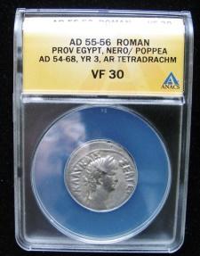 Ancient Coins - Roman Provincial: EGYPT, NERO/POPPEA  AD 54-68, YR 3, AR Tetradrachm,  ANACS-30