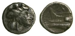 Ancient Coins - Arados Phoenicia AR Hemidrachm  260-240 BC  13mm 2.1 grams.  Tyche right/Prow of galley left