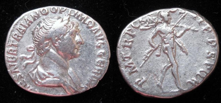 Ancient Coins - TRAJAN (AD 98-117) AR Denarius.  Rx. Mars advancing right