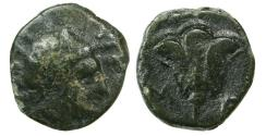 Ancient Coins - Carian Islands, Rhodes, 350-300 BC. AE-3.  9.27mm .6 grams.  Helios right/Rose