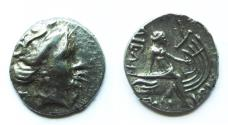 Ancient Coins - Histiaia, Euboia, Greece c.340-170 BC AR Tetrobol.  15mm 2.5 grams.  Nymph right/Nymph seated right