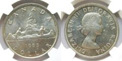 "World Coins - Canada 1955 Dollar ""3 water lines"" NGC-62"