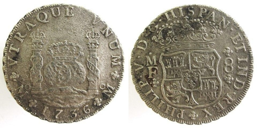 World Coins - Mexico Shipwreck 1736-MF Pillar/Wave 8 Reales from ROOSWIJK off SE of England with COA