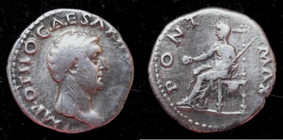 Ancient Coins - OTHO 69 AD  AR Denarius.  Rx. Vesta veiled standing left.