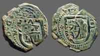 Ancient Coins - Philip III/IV AE 8 Maravedis.  Castle / Lion.  1618AD.  1640'sAD.