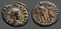 Ancient Coins - Arcadius AE3 (16mm) Victory holds wreath over Arcadius.  Alexandria Egypt