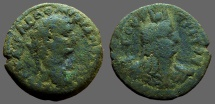 Ancient Coins - Domitian AE24 Diobol.  Bust of Isis right.