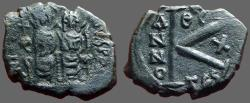 Ancient Coins - Justin II & Sophia AE20 1/2 follis year 10. Thessalonica