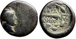 Ancient Coins - Lydia, Sardes, AE16 Apollo / Club within oak wreath