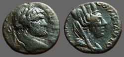 Ancient Coins - Caracalla AE18 Carrhae, Mesopotamia.  Tyche, veiled rt.
