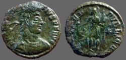 Ancient Coins - Constantius II. AE3 Emperor in military dress w. globe & spear