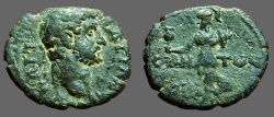 Ancient Coins - Hadrian AE20 Pamhylia, Side.  Athena holds pomegranate.
