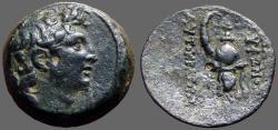 Ancient Coins - Seleukid, Tryphon AE18 His Diad. Head rt / Ibex Helmet