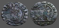 World Coins - Venice, Italy Billon 18mm Bezzo of Doge Marcantonio Giustinian.