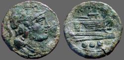 Ancient Coins - Roman Republic AE22 Triens.  Minerva / Galley Prow