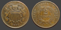 World Coins - U.S. 2 Cents large copper.  1864