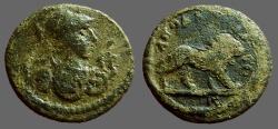Ancient Coins - Lydia, Akrasas AE14 Athena, armored, serpents / Lion adv.