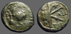 Ancient Coins - Maurice Tiberius AE19 1/2 follis.  Thessalonica.  year 6