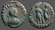 Ancient Coins - Arcadius AE3 Small bust type / Victory hold wreath over Arcadius. Alexandria, Egupt