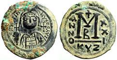 Ancient Coins - Justinian I AE37 facing bust Follis.  Cyzicus year 21