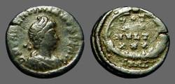 Ancient Coins - Valentinian II AE4 Vows in wreath VOT/X/MVLT/XX.  Antioch, Turkey.