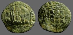 World Coins - Portugal, Alfonso V AE19 Ceitil. Castle, waves below / Coat of Arms.   1438-1481 AD.