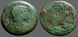 Ancient Coins - Hadrian  Æ33 Drachm. River God Nilus left, leans on hippopotamus Alexandria.