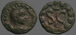 Ancient Coins - Diadumenian AE18 SC in wreath.  Antioch, Syria