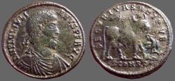 Ancient Coins - Julian II  AE28 Follis.  Constantinople.  Bull & eagle