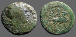 Ancient Coins - Macedon AE26 Alexander in Lionskin / Alexander horseback riding rt.