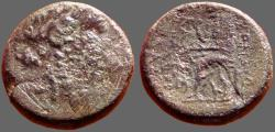 Ancient Coins - Ionia, Smyrna AE20 Apollo / Homer seated, holds scroll