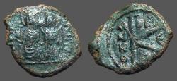 Ancient Coins - Justin II & Sophia AE20 Follis.  Thessalonica.  E officiana