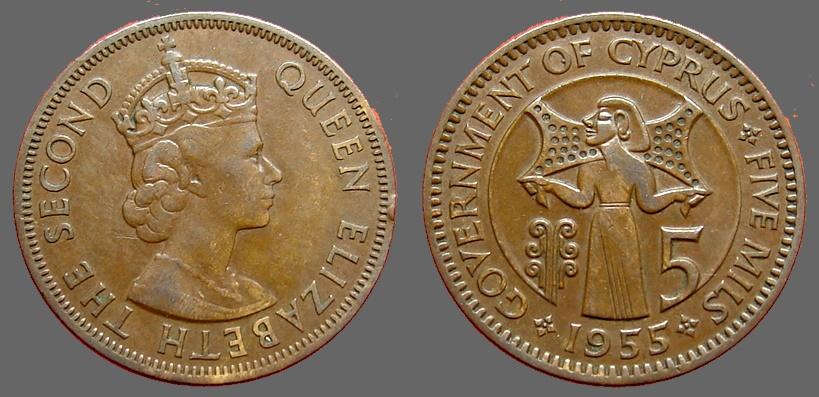 Cyprus, Queen Elizabeth II  AE25 (5) Mils 1955