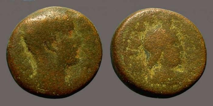 Ancient Coins - Severus Alexander AE19 Caesarea  Hd. of Sarapis w. modius