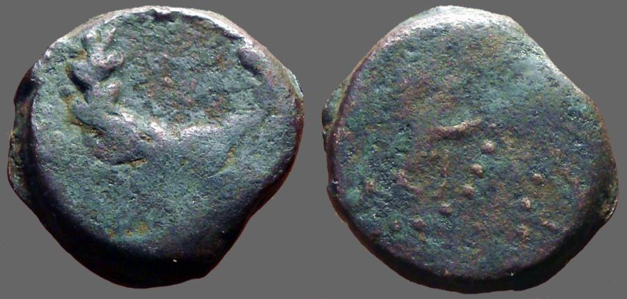 Ancient Coins - Judaea, Hasmoneans. Mattathias Antigonus AE19 (4) Prutot