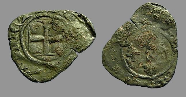 World Coins - Naples, Carlo II d'ANgio billon denaro gherardino (4) Fleur de lis / Cross.