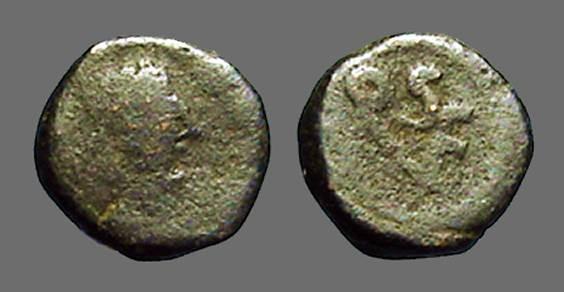 Ancient Coins - Leo I AE4 nummus / Monogram of Leo in wreath.