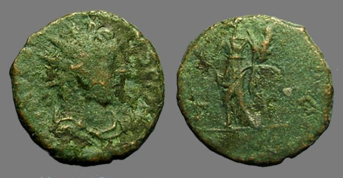 Ancient Coins - Tetricus I antoninianus Pax standing left holding wreath and scepter.