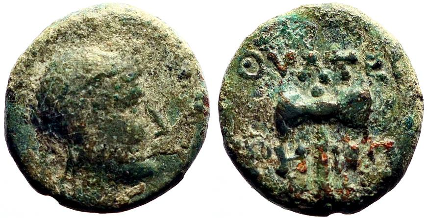Ancient Coins - Lydia, Thyateira AE16 Apollo / Labrys