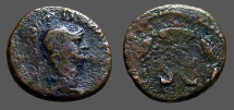 Ancient Coins - Anonymous AE13 quadrans. Helmeted bust of Mars / SC in wreath