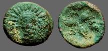 Ancient Coins - Lucania, Metapontum AE14 Radiated head of Helios, facing / 3 Barley Grains