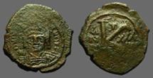 Ancient Coins - Maurice Tiberius facing bust AE23 1/2 Follis.