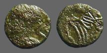 Ancient Coins - Late Roman imitative AE4 (9mm0  constantinopolis/ Constantinopolis on galley.