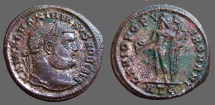 Ancient Coins - Galerius AE27 Follis,  Genius.  Heraclea