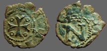 World Coins - Fernando II of Navarra billon dinero. crowned N / Cross w. pelletes in quartiles