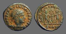 Ancient Coins - Constantine II AE3, 2 Soldiers, 1 Standard.  Antioch, Turkey