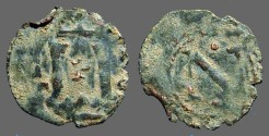 World Coins - Carlos I AE Dinero of Navarra. Columns / Cross w. pellets