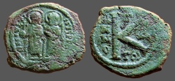 Ancient Coins - Justin II & Sophia AE22 1/2 Follis.  Thessalonica