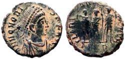 Ancient Coins - Honorius AE13 Arcadius, Honorius, Theodosius.  Antioch